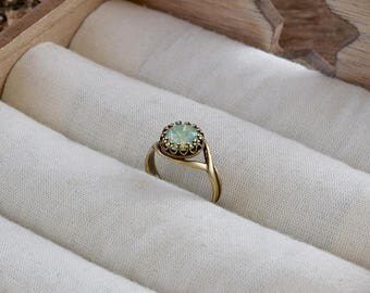 Chrysolite opal ring, Vintage style ring, Aqua green opal Swarovski crystal ring, Bridesmaid gift, Crown bezel ring, Opal rings for women