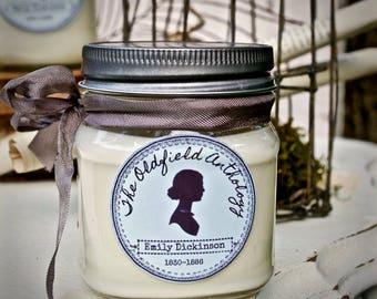 Emily Dickinson Candle | Soy, Mason Jar, Hand Poured, Literary Inspired | Oldfield Anthology