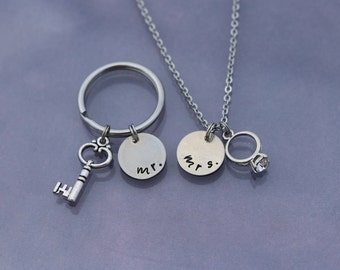 CLEARANCE - Mr & Mrs Necklace and Key Chain - 2 Piece Set