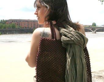 Sac en macramé, sac cabas style boho tissé à la main, un sac à main en tissage artisanal de fil de pêche marron chocolat, sac ethnique