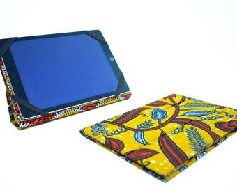 Etuis Ipad pro 10 5'' ou Ipad 9 7'' en wax Africain, support tablette numérique, coque iPad, housse rigide iPad pro, wax fleur ocre / target