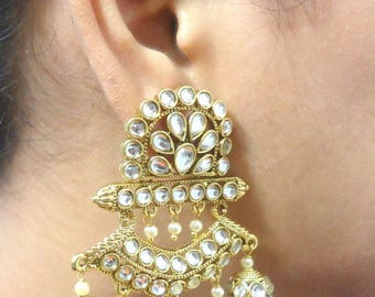 White Kundan Jhumka/Jhumki/Kundan jewelry/indian jewelry/earrings/bollywood jewerly