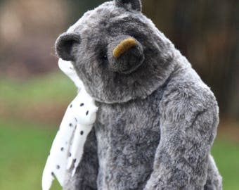 Shinshi  34 cm   animals-stuffed- bear-interior toy-personalized teddy bear mohair- ooak-authors teddy bear