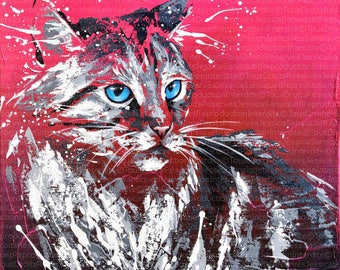 Painting of a cat 40x40cm