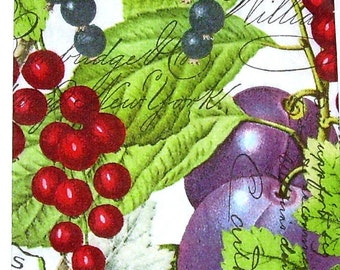 TWO (2)  Currants, Grapes, Paper Hostess Napkins for Decoupage and Paper Crafts