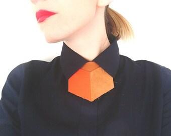 Bright orange Leather shirt necklace,unique collar accessory, unisex bow tie alternative, statement necklace, bold necklace, shirt tie