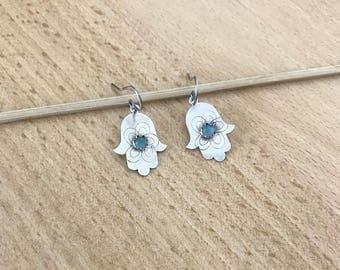 Silver Hamsa Earrings , Israeli art ,  Dangle silver earrings ,  Sterling Silver hamsa , Handmade  Hamsa jewelry