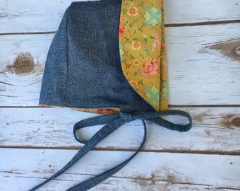 Baby Bonnet, Sun Bonnet, Baby hat, Sun hat, Chambray bonnet,  Reversible bonnet