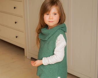 KNITTING PATTERN basic sleeveless turtleneck jumper vest Margaux (toddler, child sizes)