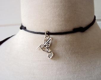 Hummingbird Necklace ~ Hummingbird Choker Necklace ~ Black Cord Necklace Pendant