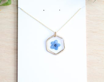 Pressed Forget Me Not Necklace Alzheimer Awareness