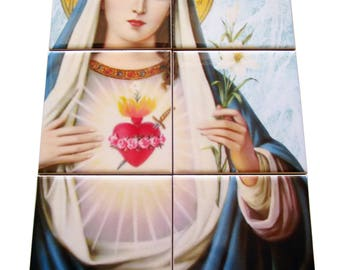 Immaculate Heart of Virgin Mary - catholic tile art - religious gift - made in Italy - gift for priests - confirmation gift - religious art