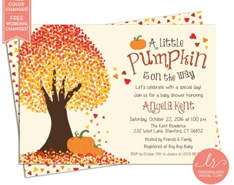 Little Pumpkin Baby Shower Invitation - Fall Baby Shower Invitations - Fall Birthday Party Invites - Printable Invitation - LR1017BA Orange