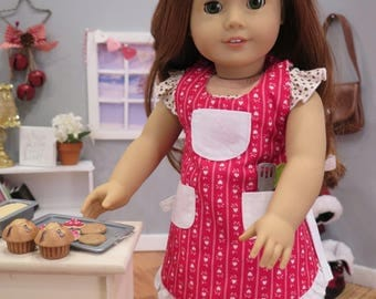 Newly Released! Reversible 18 Inch Doll Apron - Red & White Full Doll Apron - Doll Bakery Apron - American Made Modern Girl Doll Clothes