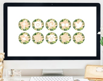 NEW! Blog Kit / 10 Buttons + Icons / Botanical Green