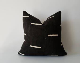 Authentic Mudcloth Pillow, Mali Bogolan, Black, Off-White, Cream, Lines