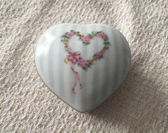 Otagiri Porcelain Heart Shaped Trinket Box, Otagiri Happiness Design, Floral Heart, Gray Stripes, Gold Trim, Japan, Heart Trinket Box