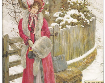 victorian Lady in fur lined red winter coat in snow Christmas print vintage Pears Soap advert ad victoria home decor print 8.5 x 11.5 inches