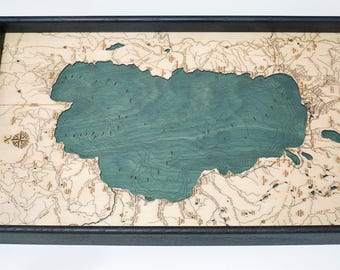 Lake Tahoe Wooden Topographical Serving Tray