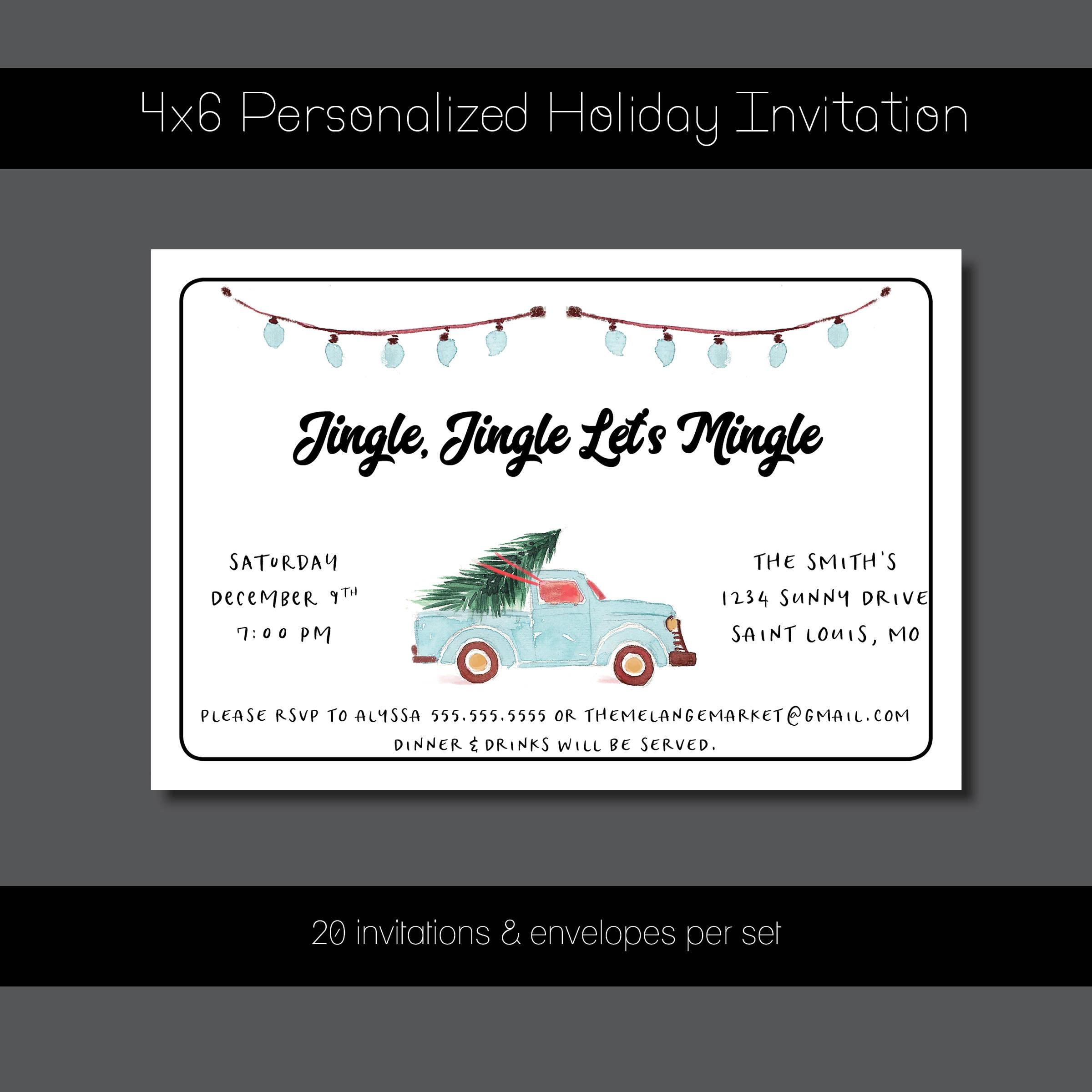 Custom Holiday Party Invitation - Jingle, Jingle Let\'s Mingle ...