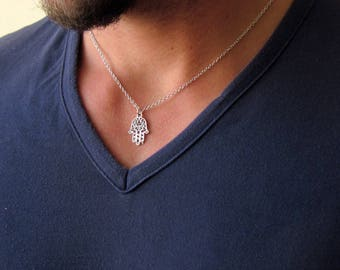 Mens Hamsa Necklace , Men's Silver Necklace , Hamsa Necklace , Evil Eye Necklace , Hamsa Hand Necklace , Silver Hamsa , Mens Jewelry