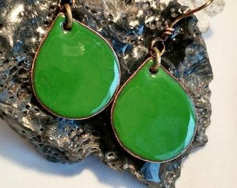 Jungle Green Enamel Teardrop Earrings