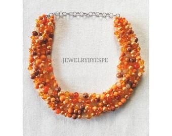 Orange Necklace Statement Necklace Orange Wedding Jewelry Orange Chunky Crystal Pearl Multi Strand Necklace Bridal Jewelry