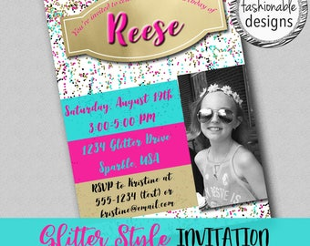 Glitter Style Invitation, Birthday Invitation, JPG File, Choose Your Size