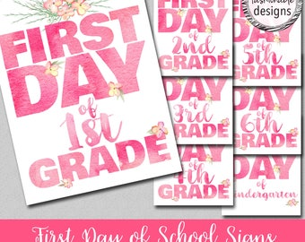 """Watercolor Style First Day of School Signs, Instant Download, 8x10"""" and 8.5x11"""" JPGs"""