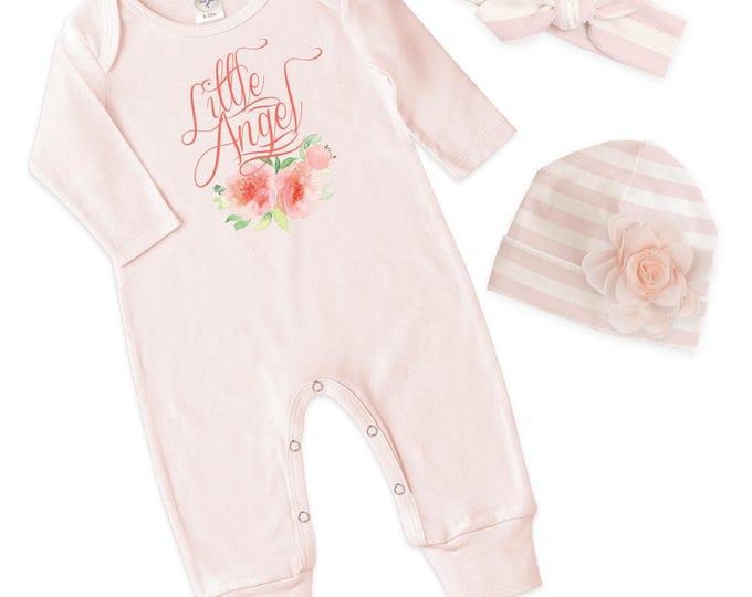 Baby Girl Pink Romper, Newborn Girl Take Home Romper, Little Angel Baby Bodysuit, Pink Long Sleeve Romper, TesaBabe RC810BH0238-girl angel