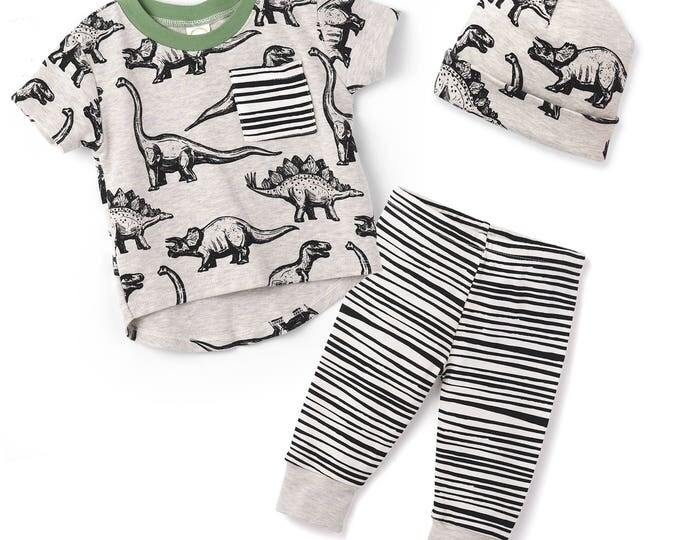 Dinosaur Baby Boy Outfit, Baby Boy Dinosaur Top Bottom, Baby Boy Leggings, Newborn, Dinosaur Baby Clothes, Heather Gray, TesaBabe