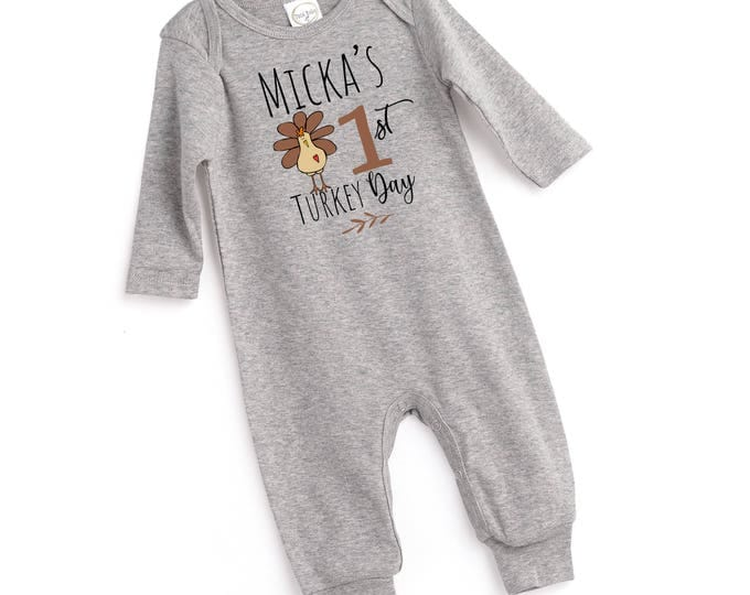 Personalized My 1st Turkey Day Outfit, Custom Newborn Thanksgiving Romper, Turkey, Baby Boy Girl Thanksgiving Bodysuit, Turkey Baby Tesababe