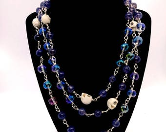 Skull, Crystal and Agate Rosary Style Wrap necklace