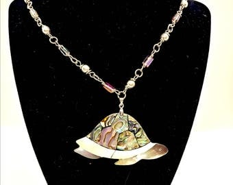 Abalone Turtle Rosary Style pendant necklace