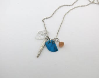 Natural Gemstone Cluster Necklace ~ Turquoise, Topaz, Peach Moonstone and Silver Cuttlebone Casting