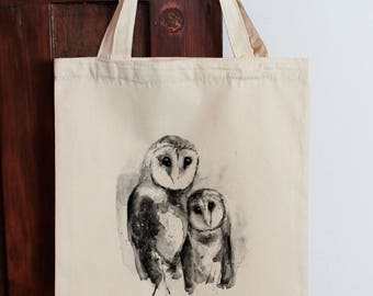 Owl Tote Bag, Calico Shopping Bag  Graphic Bag Shopping bag Market Bag Eco Bag Gift for Mum Gift Under 30 Calico Tote Gift for Aunt