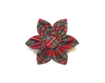 Christmas Tartan Plaid Flower for Dog collar, Cat collar