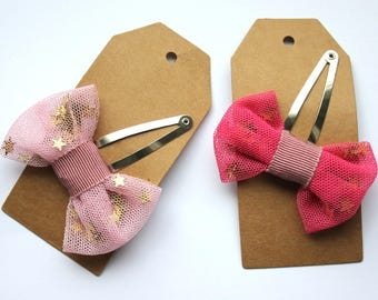 Pink Bow clip with stars, Accessories for girls, Barrette clip, Pink hair clips, Hair accessories for girls, Cute bows