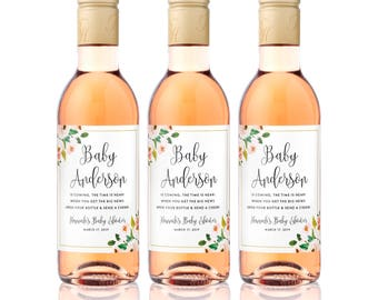 Baby Shower Mini Wine Labels -  Baby Shower Favors - Ready to Pop Baby Sprinkle Thank You Gift - Baby on the Way - Birth Announcement