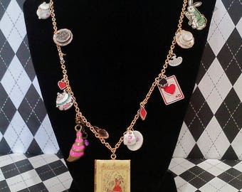 Alice In Wonderland Locket Charm Necklace Mad Tea Party