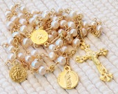 Rosary - French Freshwater Pearl, Marie Madeleine & Saintes-Maries - 18K Gold Vermeil