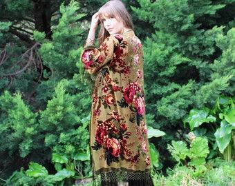 Wedding Floral Robes - Silk Robes For Bridesmaids - Bridesmaid Floral Robes - Bridal Silk Kimono Robe - Brides Floral Kimono Robes
