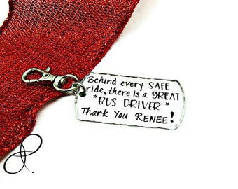 Personalized Bus Driver Gift | School Bus Driver Appreciation Keychain | Hand Stamped Key Ring | Bus Driver Christmas Gift | End of year
