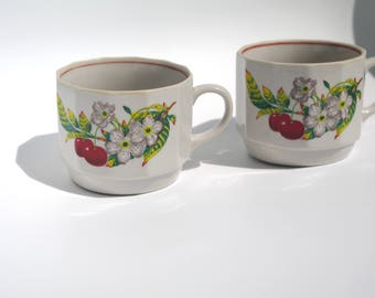 2 Cute Vintage Polish teacup coffee cup mug saucer Polish ceramics white red green floral flowers cherries Soviet era (1980s) Polish pottery