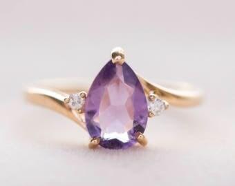 Vintage Pear-Shaped Amethyst and Diamond 14K Ring, Amethyst and Diamond Ring, February Birthstone Ring, Amethyst Ring 14k, Pear Amethyst 14k