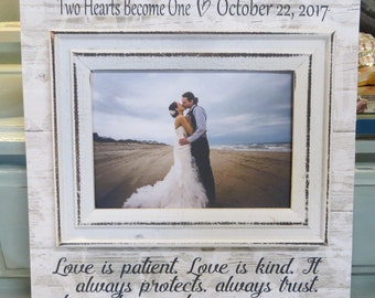 """Wood Wedding Frame, """"Love is patient. Love is kind..."""" 1 Corinthians 13:4, Wedding Gift for Spouse, Bridal Shower Gift"""