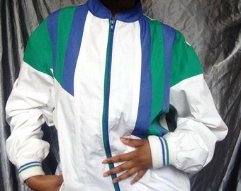 Vintage 1980s Gabicci Ski/Gym Blue, Green and White Zip up Jacket