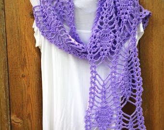 Crochet Pineapple Scarf Bridal Lacy Violet Vintage Style Wrap Shawl Unique Handmade