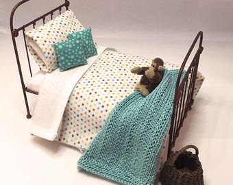 Shabby Chic Handmade Miniature Dollhouse Duvet Set - Creamy white with dots - Twin Size