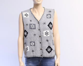 Ugly Christmas Sweater Vest, Vintage Christmas Sweater, Holiday Sweater, Christmas Sweater Party Contest, Vintage Christmas Vest
